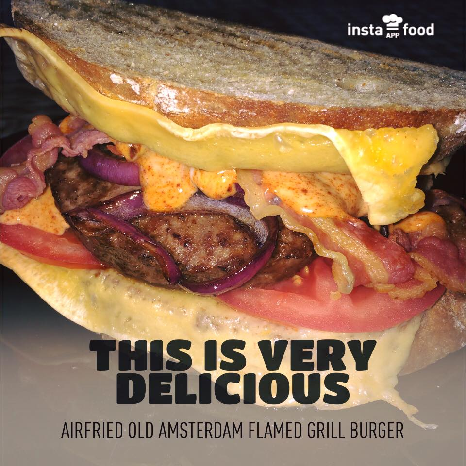 Old Amsterdam flamed grilled Burger uit de Airfryer