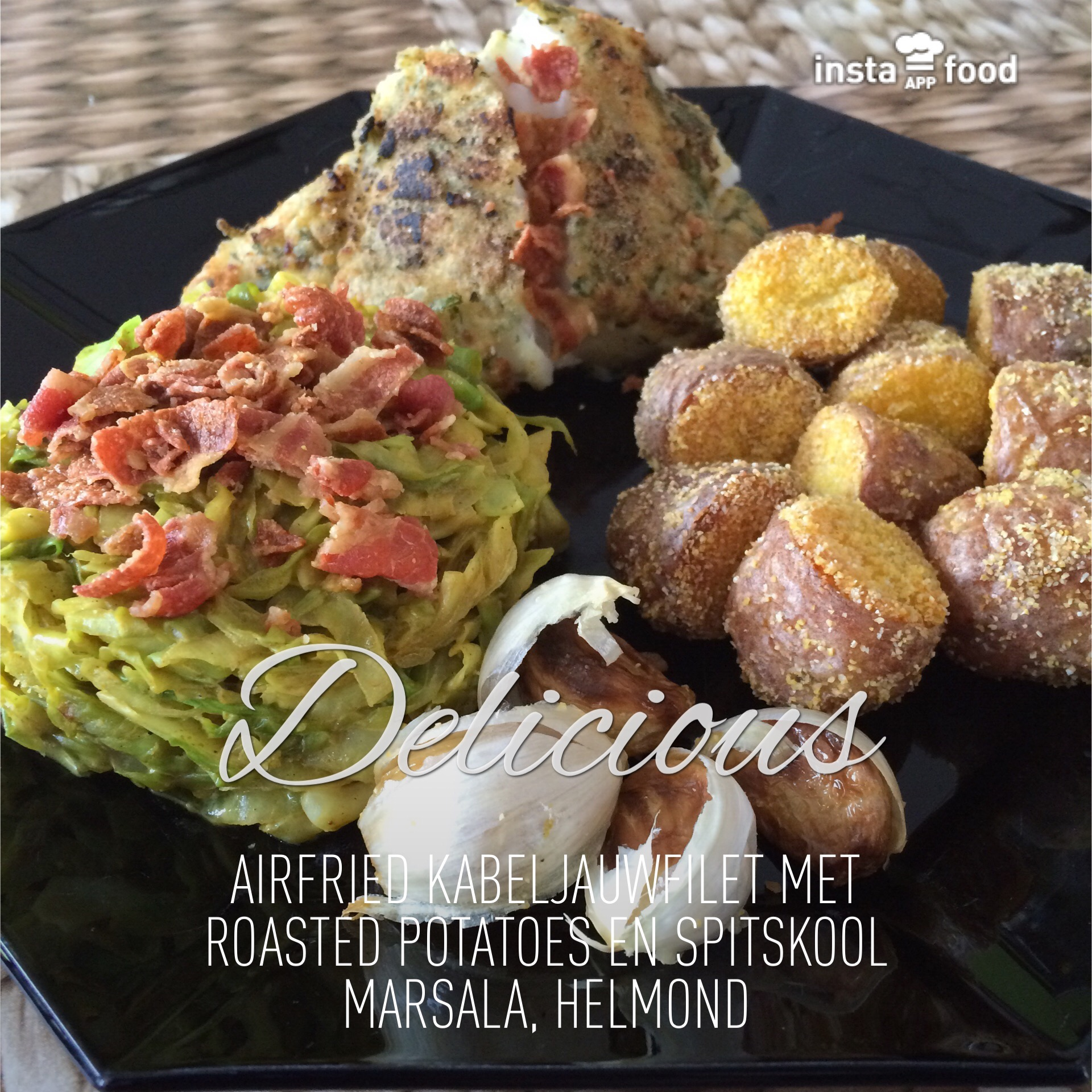 Airfried Kabeljauwfilet met crispy roasted potatoes en spitskool marsala